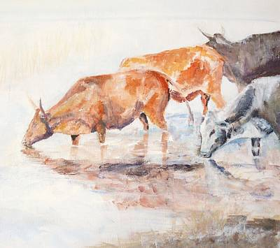 Painting - Nguni Cattle by David  Hawkins
