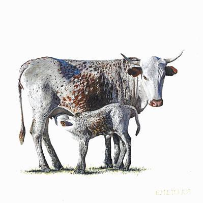 Nguni Cow And Calf 1 Original by Edgar Pretorius