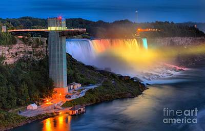 Photograph - Niagara American Falls At Night by Adam Jewell