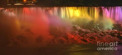 Photograph - Niagara American Falls Lights by Adam Jewell