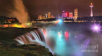Photograph - Niagara Blue And Purple Starburst Panorama by Adam Jewell