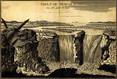 Foot Hills Painting - Niagara Falls 135 Feet High 1755 by MotionAge Designs