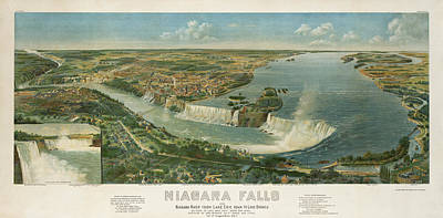 Vintage Map Photograph - Niagara Falls 1891 by Andrew Fare