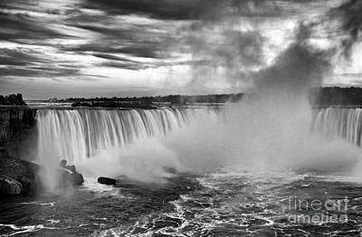 Photograph - Niagara Falls Black White by Charline Xia