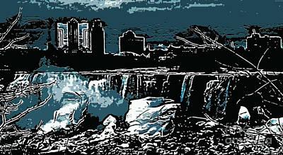Niagara Falls Frozen At Night Art Print by Miss Dawn