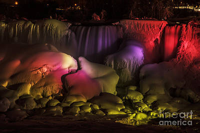 Photograph - Niagara Falls Lightshow by JT Lewis