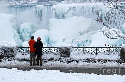 Photograph - Watching Niagara Falls Winter Wonderland by Charline Xia