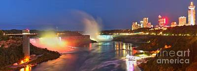 Photograph - Niagara Falls Night Lights Panorama by Adam Jewell