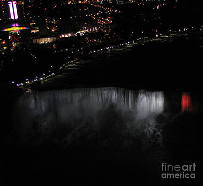 Photograph - Niagara Falls Nightly Illumination Aerial View by Rose Santuci-Sofranko