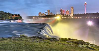 Photograph - Niagara Falls Panoramic Starbursts by Adam Jewell