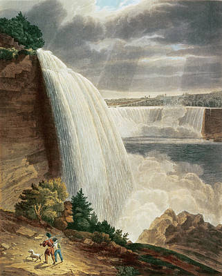 Waterfalls Drawing - Niagara Falls by HJ Bennett