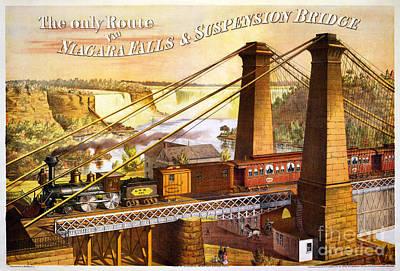 Suspension Bridge Painting - Niagara Falls Suspension Bridge by Celestial Images