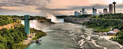 Photograph - Niagara Pink Sky Panorama by Adam Jewell