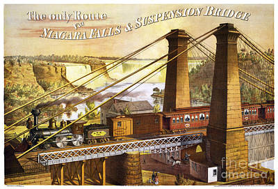 Suspension Bridge Painting - Niagara Rail Over Suspension Bridge by Pablo Romero
