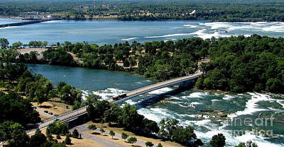 Photograph - Niagara River And Goat Island Aerial View by Rose Santuci-Sofranko
