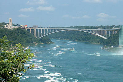 Photograph - Niagara River Bridge To Usa Americca View From Casino Casinorama  Ontario Canada Vacation Trip Tour  by Navin Joshi