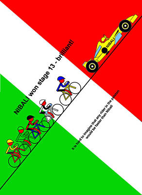 Digital Art - Nibali Won Stage 13  by Asbjorn Lonvig