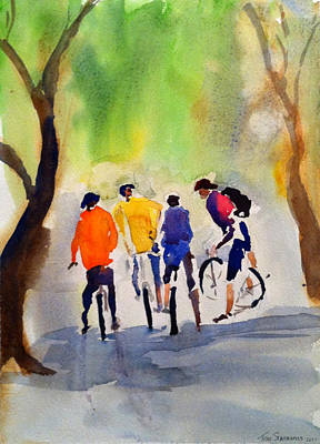 Painting - Nicasio Bikers by Tom Simmons