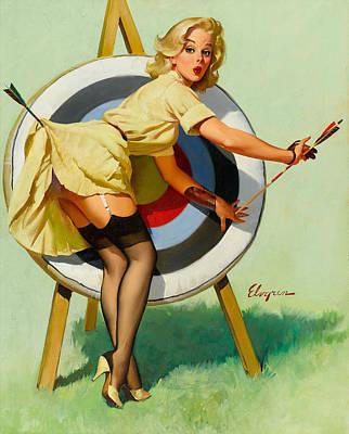 Nice Archery Shot - Retro Pinup Girl Art Print
