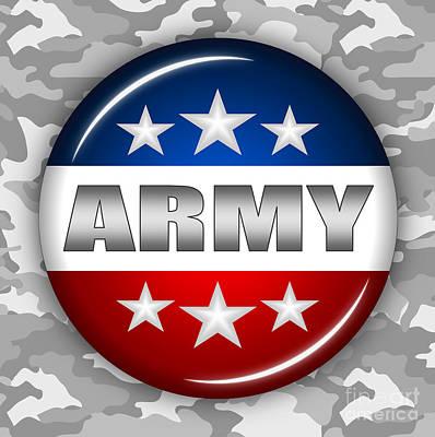 4th July Digital Art - Nice Army Shield 2 by Pamela Johnson
