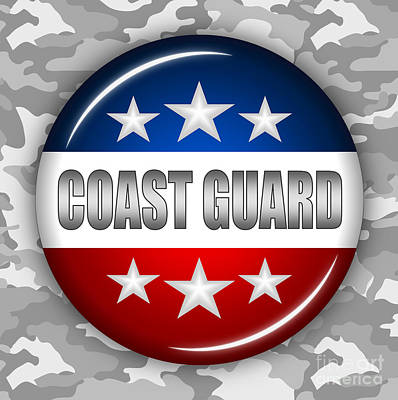 4th July Digital Art - Nice Coast Guard Shield 2 by Pamela Johnson