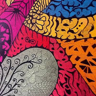 Acrylic Painting - Nice Colors In A Doodling Designs I by Sandra Lira