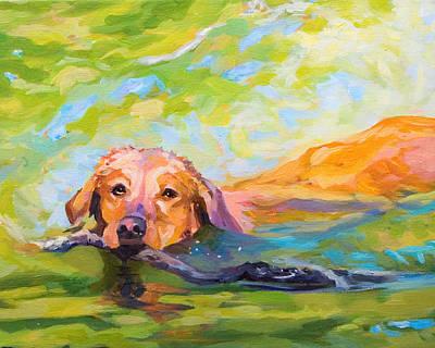 Nice Day For A Swim Art Print by Janine Hoefler