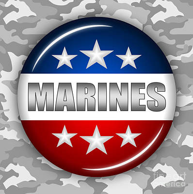 National Guard Mixed Media - Nice Marines Shield 2 by Pamela Johnson