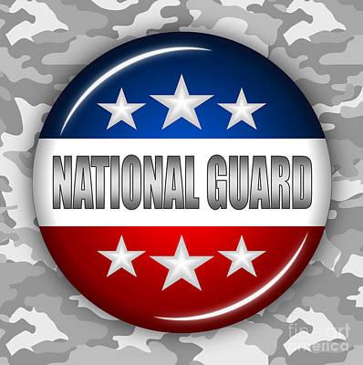 National Guard Mixed Media - Nice National Guard Shield 2 by Pamela Johnson