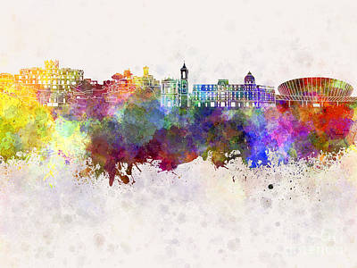 Nice France Painting - Nice Skyline In Watercolor Background by Pablo Romero