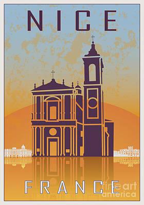 European City Digital Art - Nice Vintage Poster by Pablo Romero