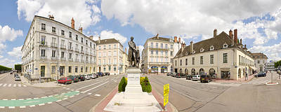 Nicephore Niepce Statue At Town Square Art Print by Panoramic Images