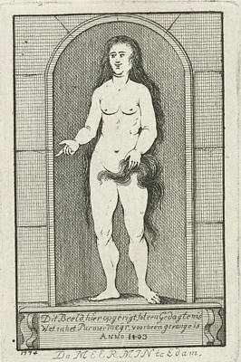 Siren Drawing - Niche With The Statue Of A Mermaid by Caspar Jacobsz. Philips