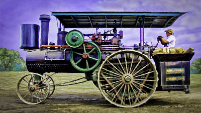 Keck Photograph - Nichols Shepard Steam Traction Engine Engineer by F Leblanc