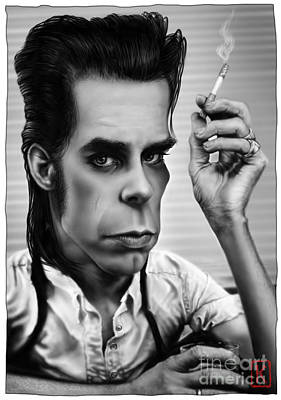 Digital Art Digital Art Drawing - Nick Cave by Andre Koekemoer