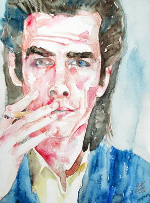 Nick Cave Painting - Nick Cave Smoking A Cigarette Watercolor Portrait by Fabrizio Cassetta