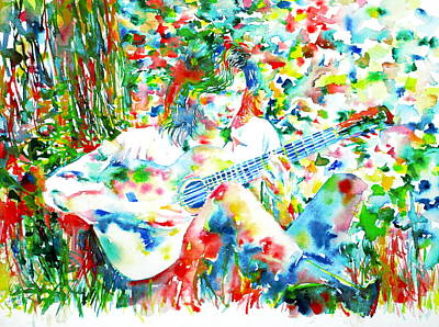 Drake Painting - Nick Drake Playing The Guitar Under A Tree Watercolor Portrait by Fabrizio Cassetta