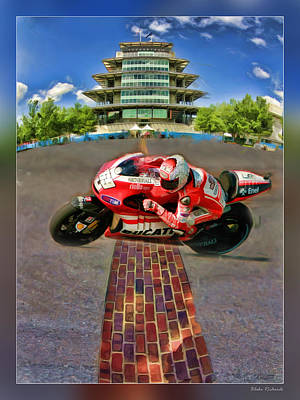 Photograph - Nicky Hayden Crosses The Bricks by Blake Richards