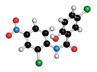 Niclosamide Tapeworm Drug Molecule Art Print by Molekuul