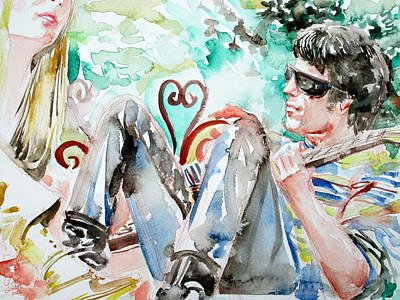 Concert Images Painting - Nico And Lou Reed Watercolor Portrait by Fabrizio Cassetta