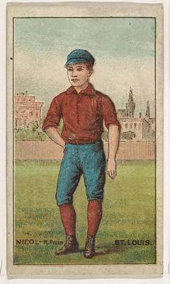 Baseball Cards Drawing - Nicol, Right Field, St. Louis by Issued by D. Buchner & Co., New York