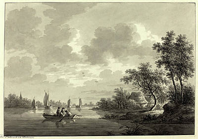 Wash Drawing - Nicolaas Wicart, Dutch 1748-1815, Ameide On The River Lek by Litz Collection