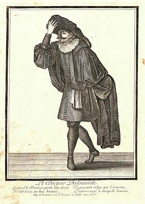 1636 Drawing - Nicolas Bonnart French, 1636 - 1718. Le Docteur Balouarde by Litz Collection