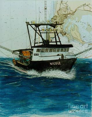 Dragger Painting - Nicole Trawl Fishing Boat Nautical Chart Art by Cathy Peek