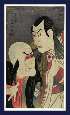 Oni Drawing - Nidaime Sawamura Yodogoro No Kawatsura Hogen To Bando Zenji by Sharaku, Toshusai (fl.1794-95), Japanese