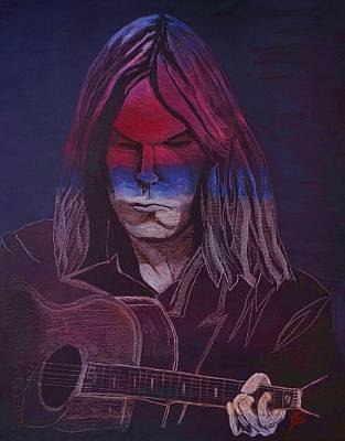 Painting - Neil Young   Patriot by Edward Pebworth