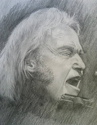 Neil Young Drawing - Niel Young by Rich Alexander