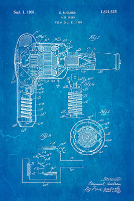Nielsen Hair Dryer Patent Art 1929 Blueprint Art Print by Ian Monk
