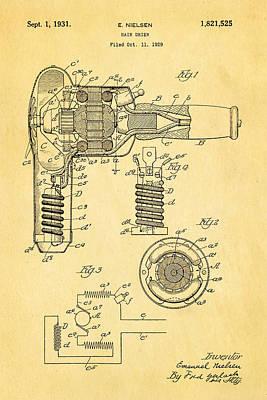 Nielsen Hair Dryer Patent Art 1929  Art Print by Ian Monk