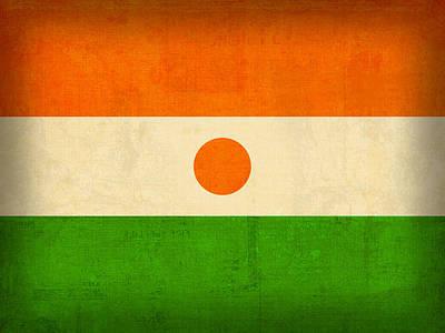 Flag Mixed Media - Niger Flag Vintage Distressed Finish by Design Turnpike